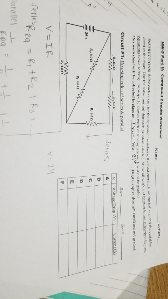 Solved: HW-5 Part Il: Compound Circuits Worksheet Section