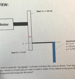 question top view gear 1 r 10 cm motor aluminum rod z d 2 cm l 20cm p 2 700 kg m3 gear 2 r 3 cm yo  [ 1024 x 818 Pixel ]