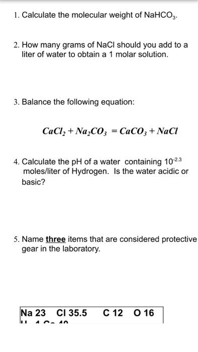 Liters To Grams Calculator : liters, grams, calculator, Solved:, Calculate, Molecular, Weight, NaHCO_3., Man..., Chegg.com