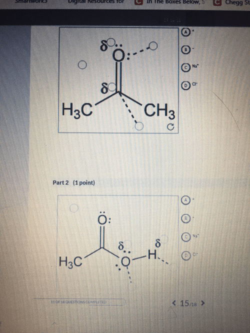 small resolution of  if any ion dipole interactions occur between the solvent and the sodium and chloride ions in parts 1 and 2 there are four labels to place but five