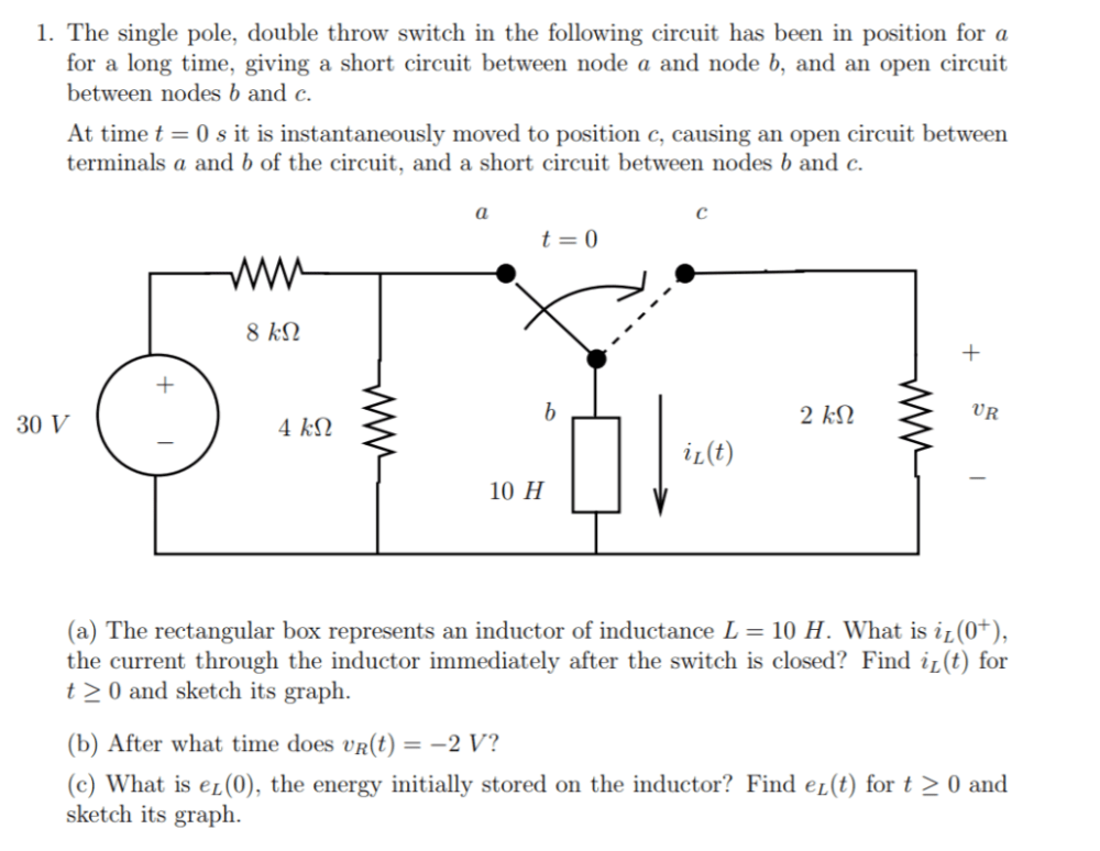medium resolution of the single pole double throw switch in the following circuit has been in