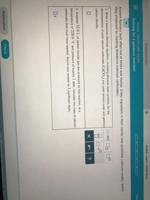 Solved: Blackboard Learn ALEKS -Learn - Tanae Terry O GASE... | Chegg.com