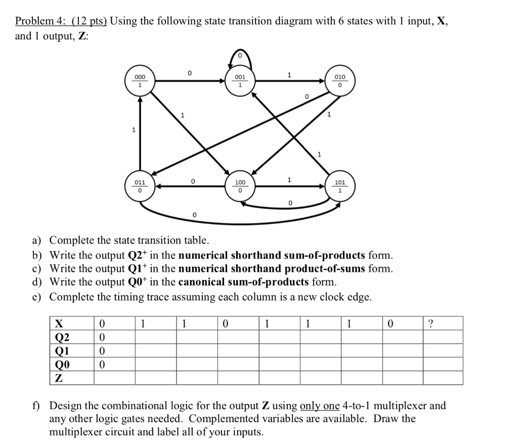 hight resolution of problem 4 12 pts using the following state transition diagram with 6 states