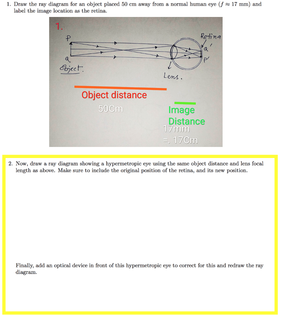 hight resolution of draw the ray diagram for an object placed 50 cm away from a normal