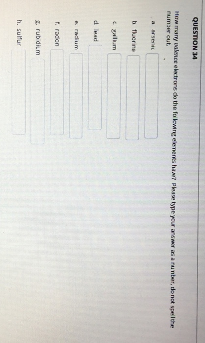 How Many Valence Electrons Does Fluorine : valence, electrons, fluorine, Solved:, QUESTION, Valence, Electrons, Foll..., Chegg.com