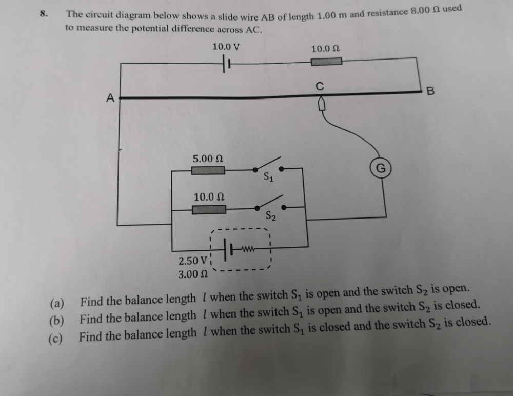 medium resolution of 0 used the circuit diagram below shows a slide wire ab of length 1 00 m