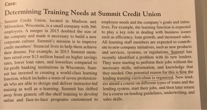 Solved: Case: Determining Training Needs At Summit Credit ...