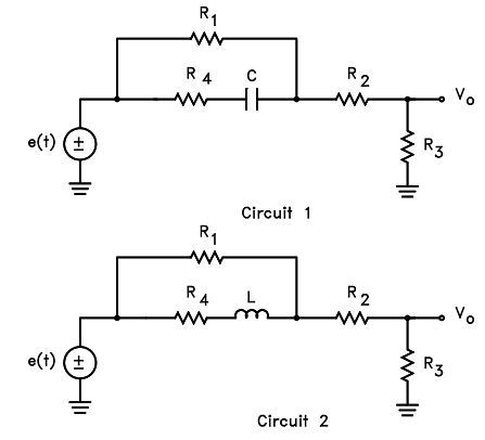 Solved: The Excitation For Both Circuits Shown Below Is E