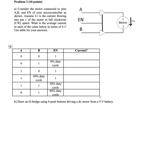 small resolution of problem 2 10 points a consider the motor connected to pins a