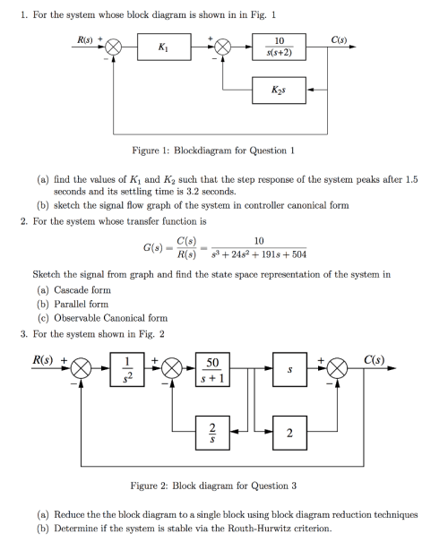 small resolution of for the system whose block diagram is shown in in fig 1 r