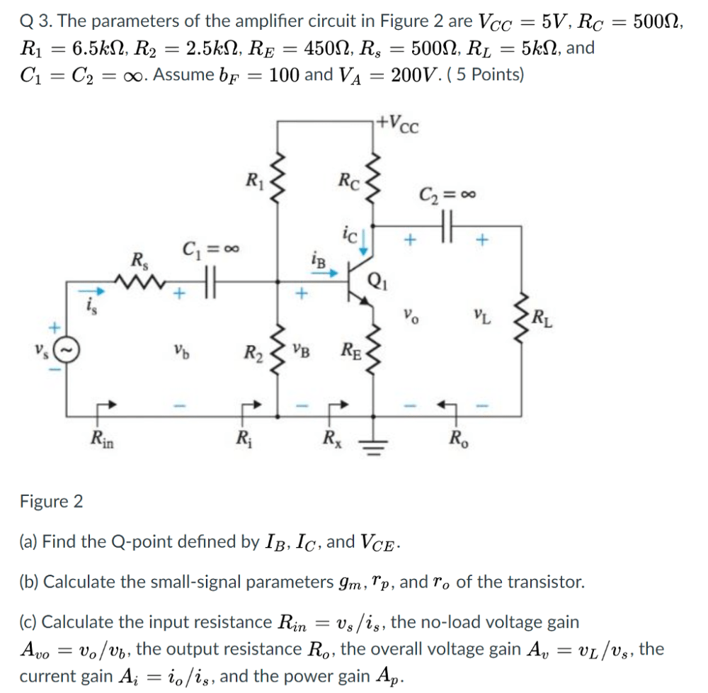 medium resolution of the parameters of the amplifier circuit in figure 2 are vcc 5v