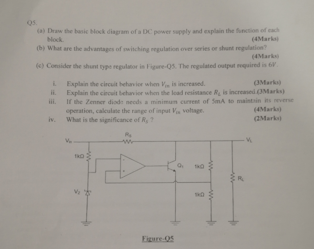 Solved: Q5. (a) Draw The Basic Block Diagram Of A DC Power