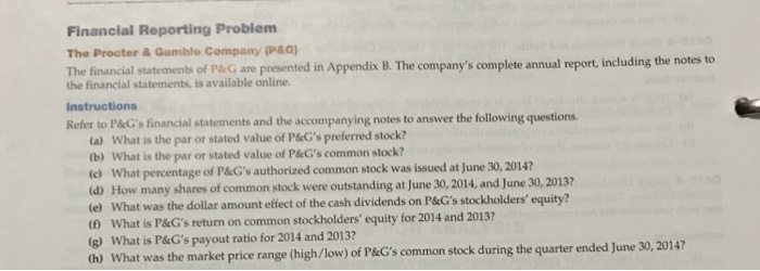 Solved: Financial Reporting Problem The Procter & Gamble C