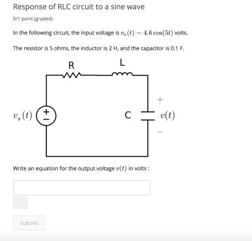 small resolution of response of rlc circuit to a sine wave 0 1 point graded in