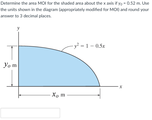 small resolution of determine the area moi for the shaded area about the x axis if yo 0 52