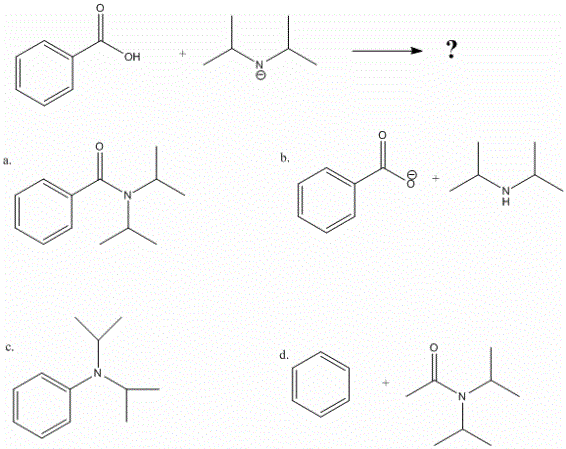 benzoic acid in LDA, multiple choice. image included