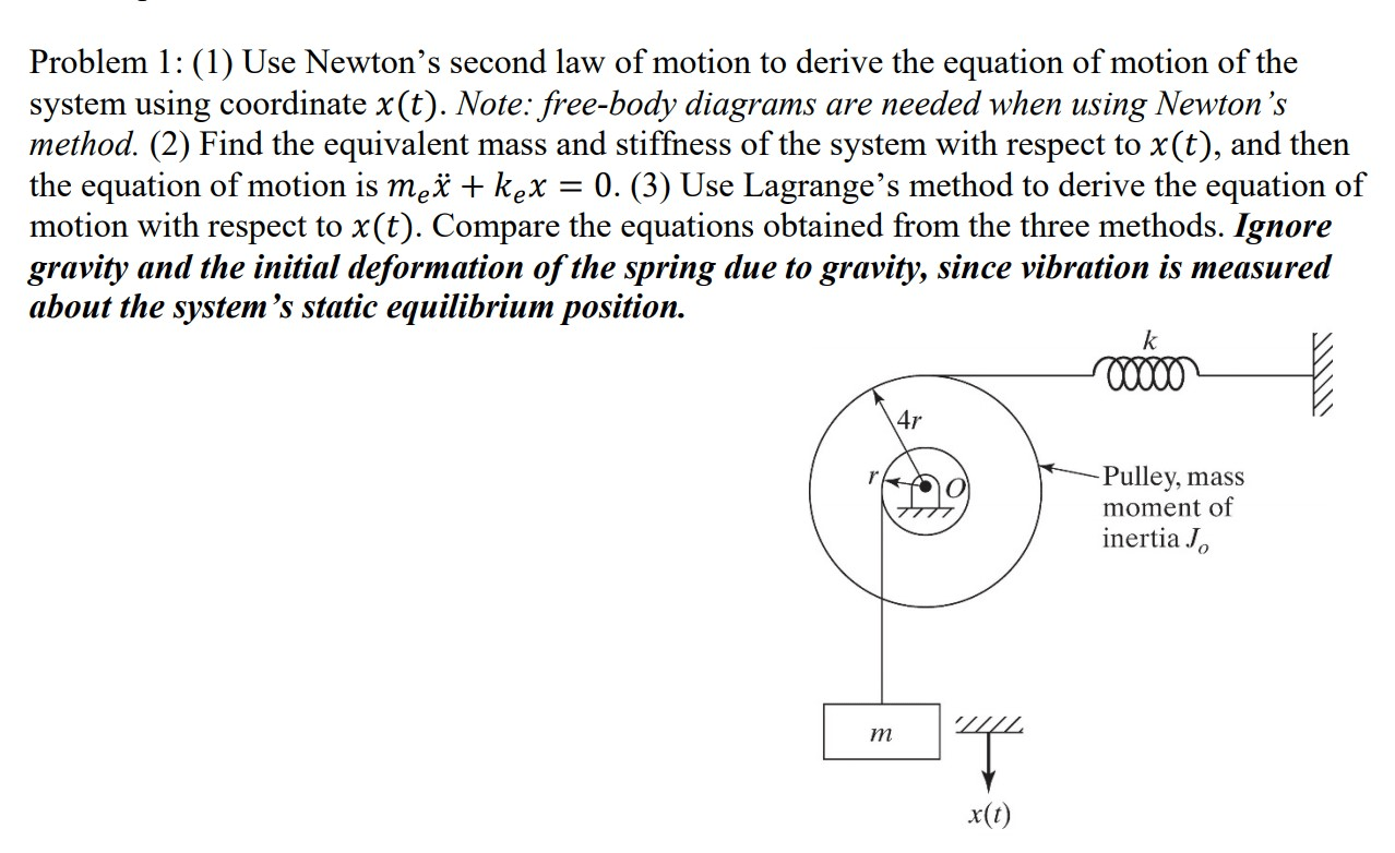 Solved Problem 1 1 Use Newton S Second Law Of Motion T