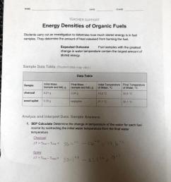 Solved: NAME DATE CLASS TEACHER SUPPORT Energy Densities O...   Chegg.com [ 1024 x 892 Pixel ]