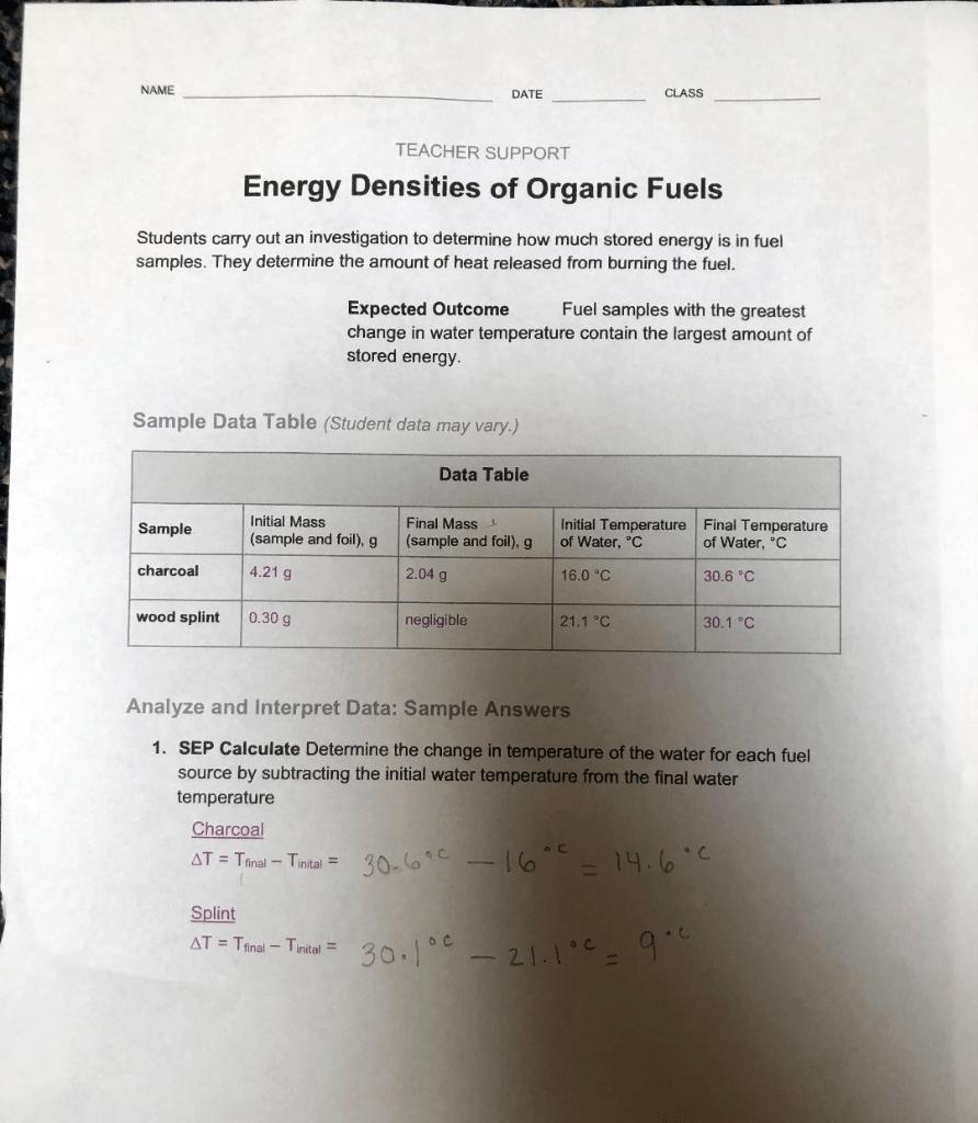 hight resolution of Solved: NAME DATE CLASS TEACHER SUPPORT Energy Densities O...   Chegg.com