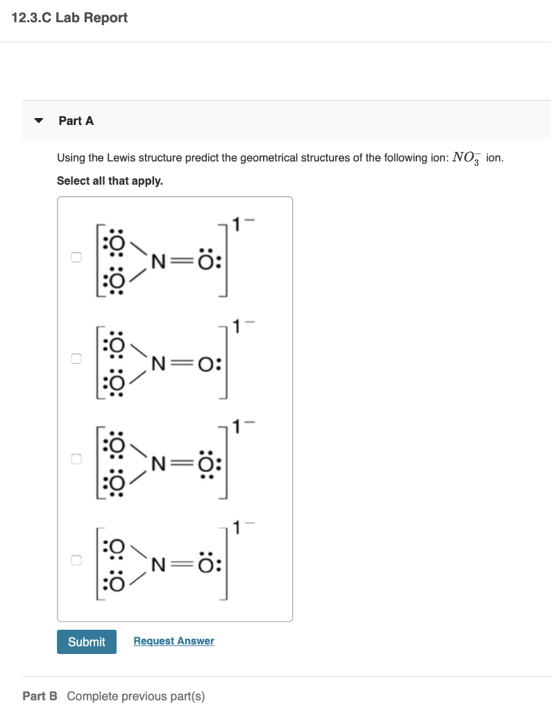 No- Ion Lewis Structure : lewis, structure, Solved:, 12.3.D, Report, Using, Lewis, Structure..., Chegg.com
