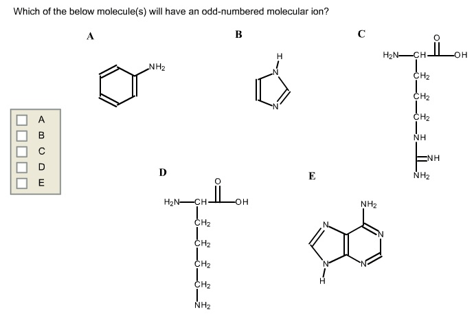 Which Of The Below Molecule(s) Will Have An Odd-numbered