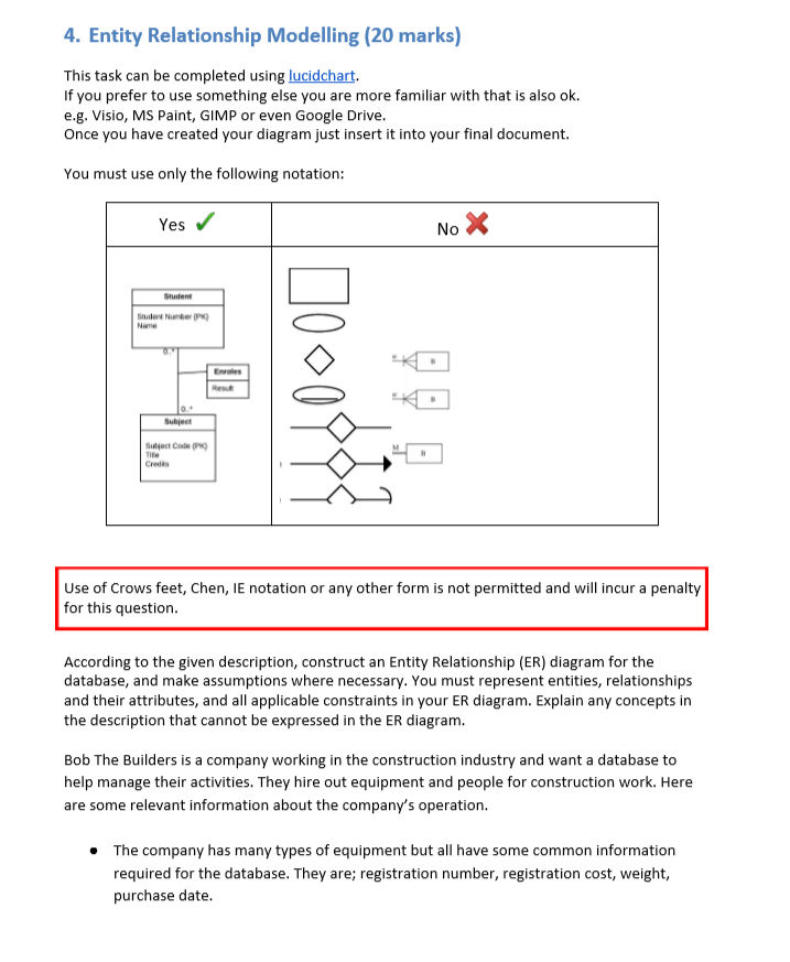 Entity Relationship Diagram Visio : entity, relationship, diagram, visio, Solved:, Entity, Relationship, Modelling, Marks), Chegg.com