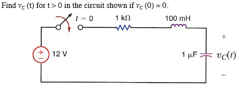 Find Vc(t) For T > 0 In The Circuit Shown If Vc(0) = 0