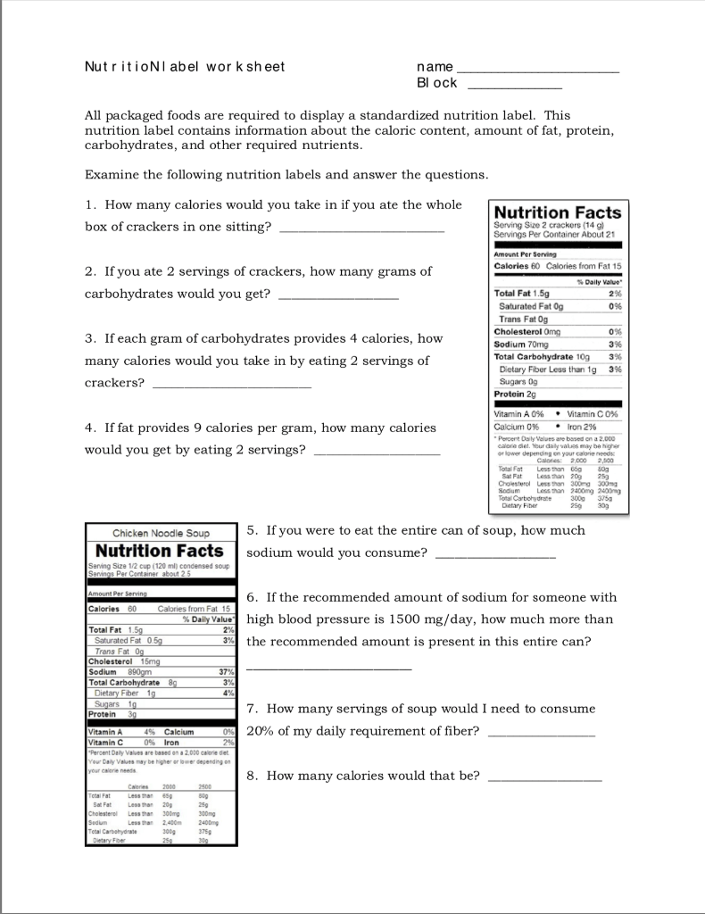 Nutrition Label Worksheet Answer Key Oreos : nutrition, label, worksheet, answer, oreos, Solved:, NutritioNl, Sheet, Block, Package..., Chegg.com