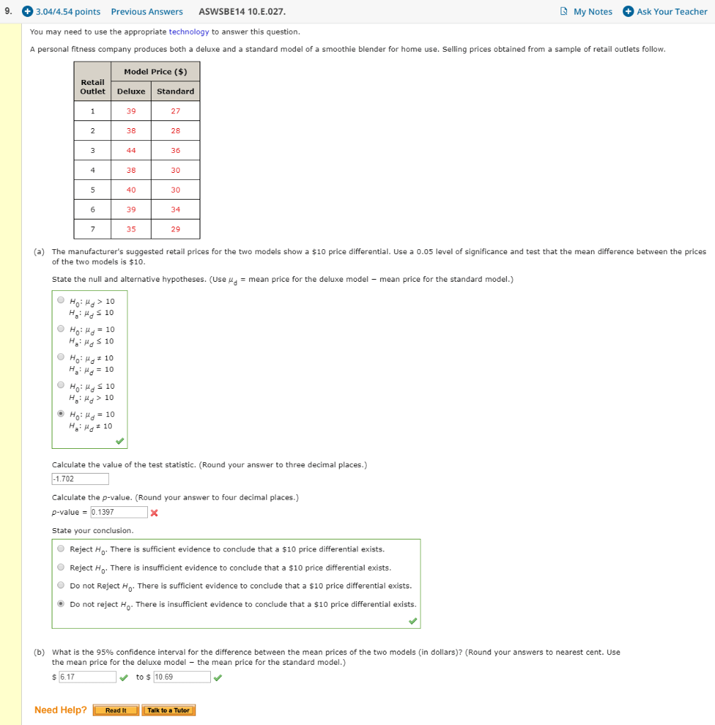 Solved: I Need Help On The Test Statistic And The P-value ...