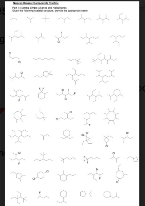 Solved: Naming Organic Compounds Practice Part 1: Naming S