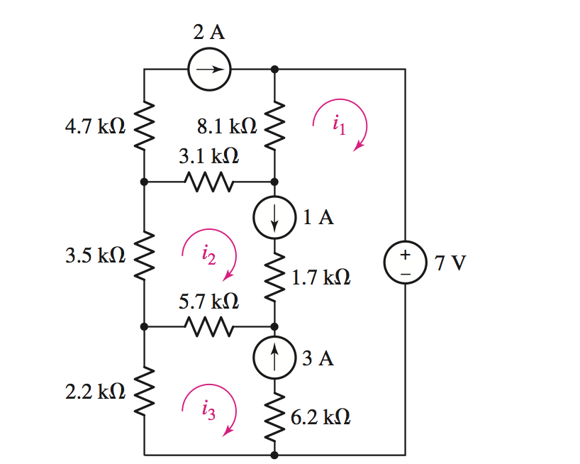 Calculate The Three Mesh Currents Labeled In The