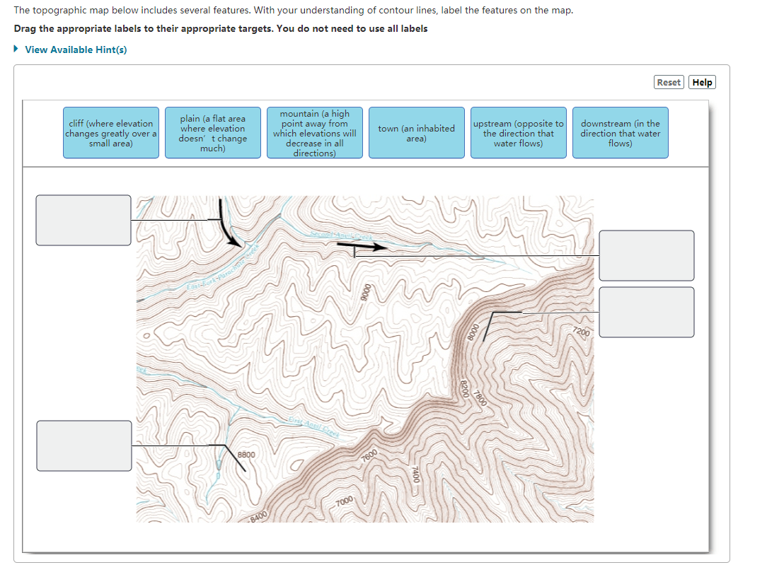 Solved The Topographic Map Below Includes Several Feature