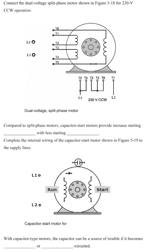 solved connect the dualvoltage splitphase motor shown i