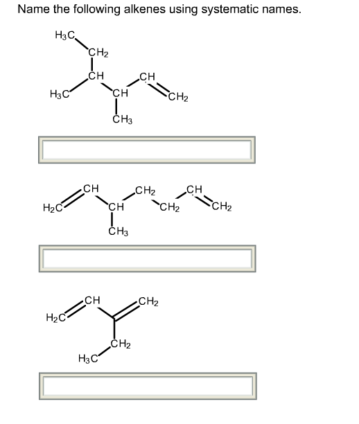 Name The Following Alkene Using Systematic Names