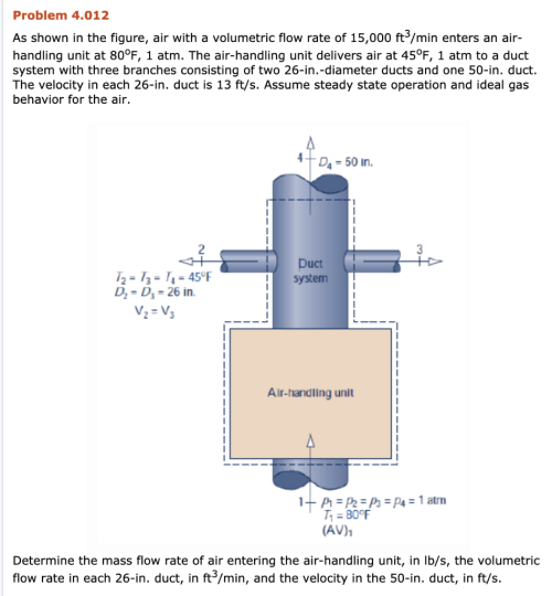 small resolution of problem 4 012 as shown in the figure air with a volumetric flow rate of 15 000