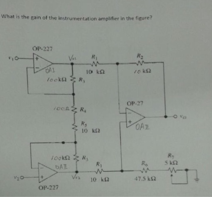 Solved: What Is The Gain Of The Instrumentation Amplifier
