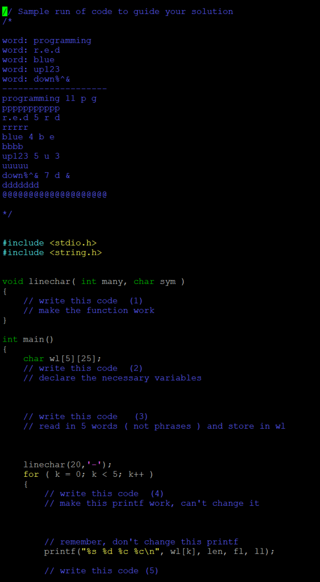 in c programming Code for : (29) linechar  Chegg.com