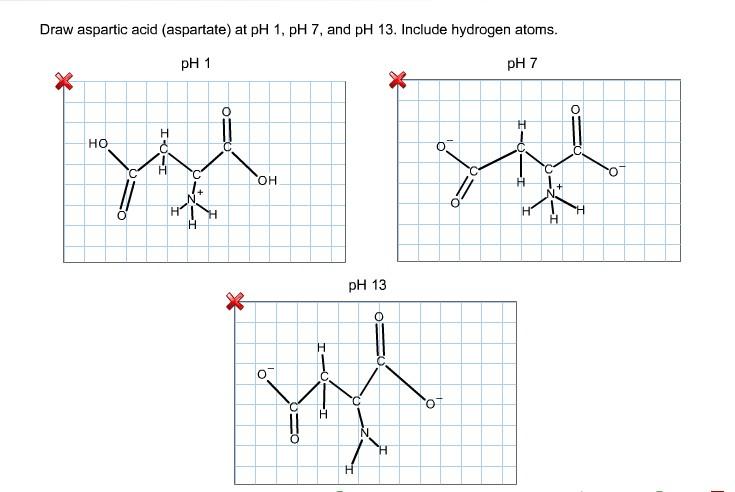 Draw Aspartic Acid (aspartate) At PH 1, PH 7, And