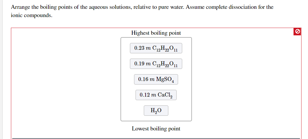 Solved: Arrange The Boiling Points Of The Aqueous Solution