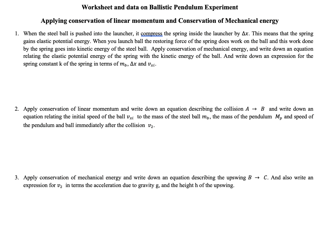 Solved Worksheet And Data On Ballistic Pendulum Experimen
