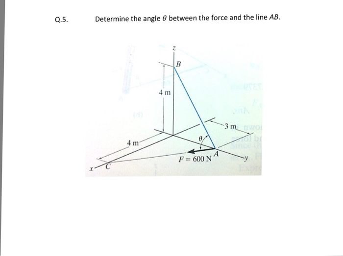 Solved: Determine The Angle Theta Between The Force And Th