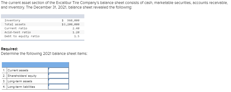 Solved: The Current Asset Section Of The Excalibur Tire Co
