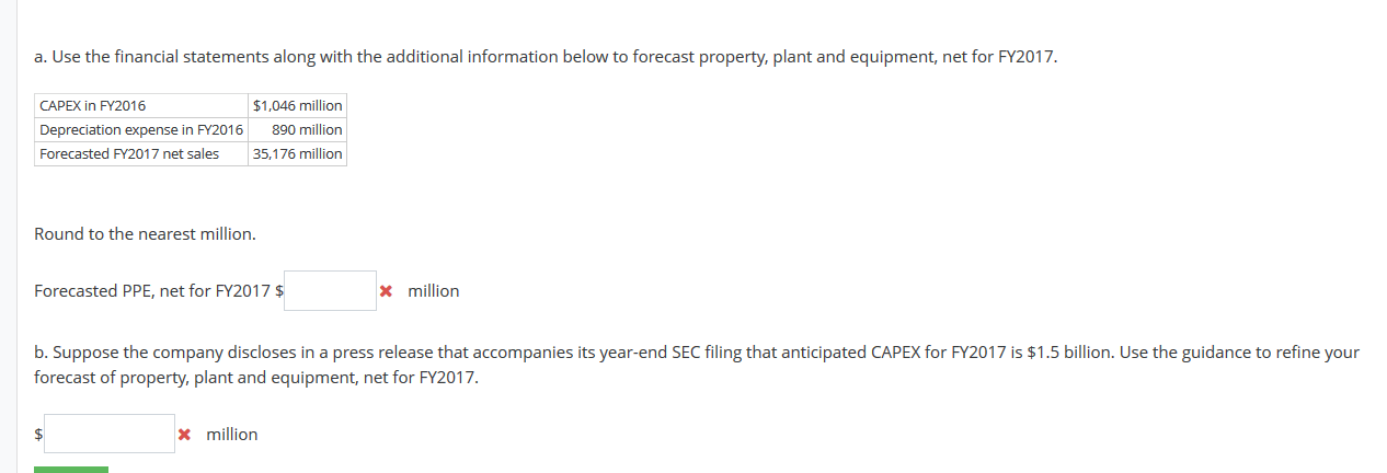 Solved: Refine Assumptions For PPE Forecast Provided Below