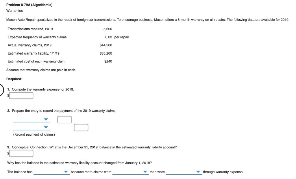Solved: Problem 8-79A (Algorith Mic) Warranties Mason Auto