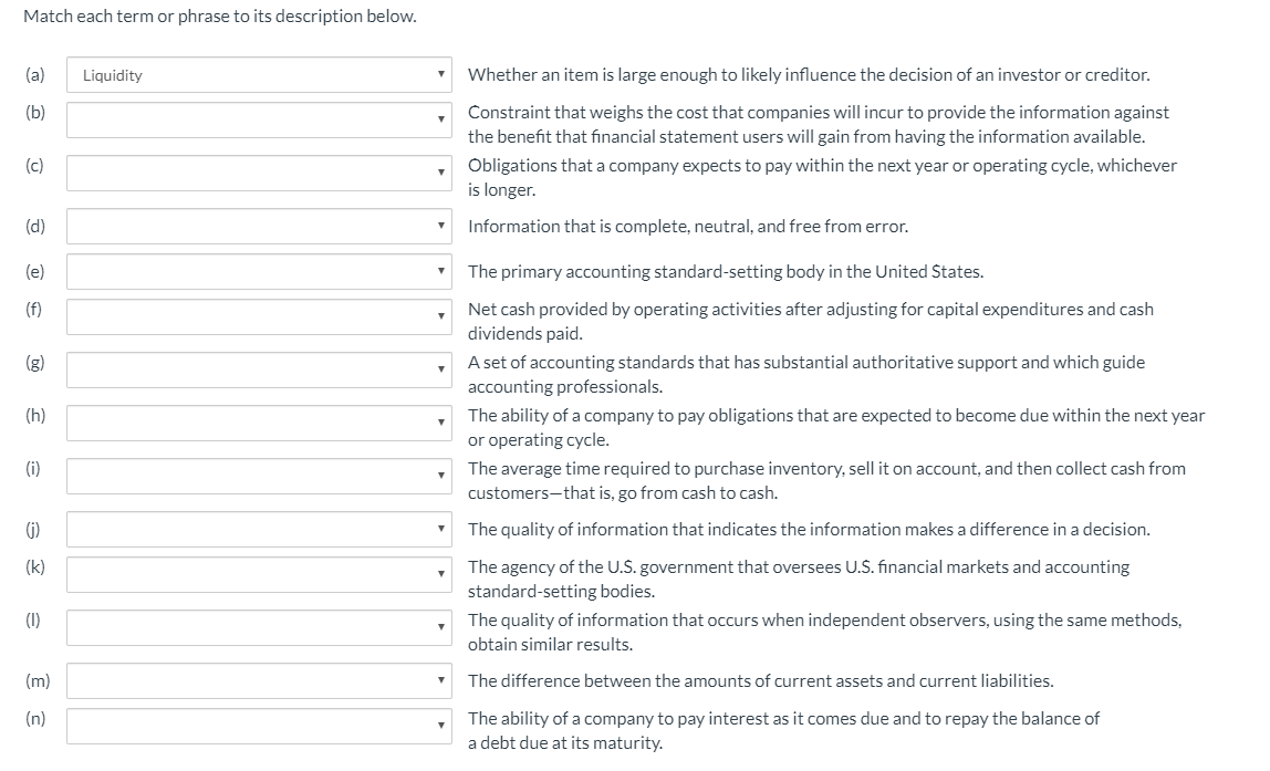 Solved: Match Each Term Or Phrase To Its Description Below... | Chegg.com
