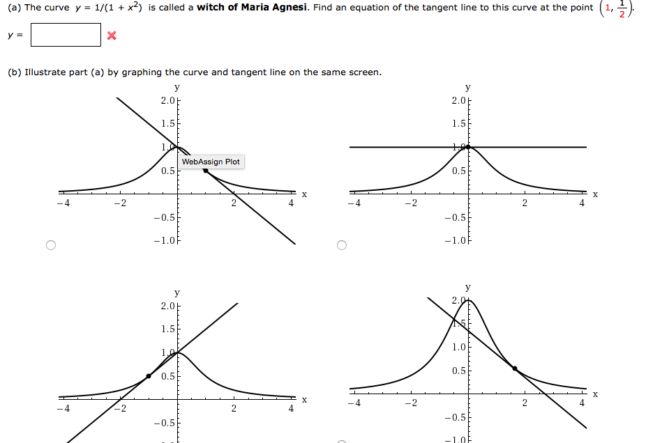 (a) The Curve Y = 1/(1+x^2) Is Called A Witch Of
