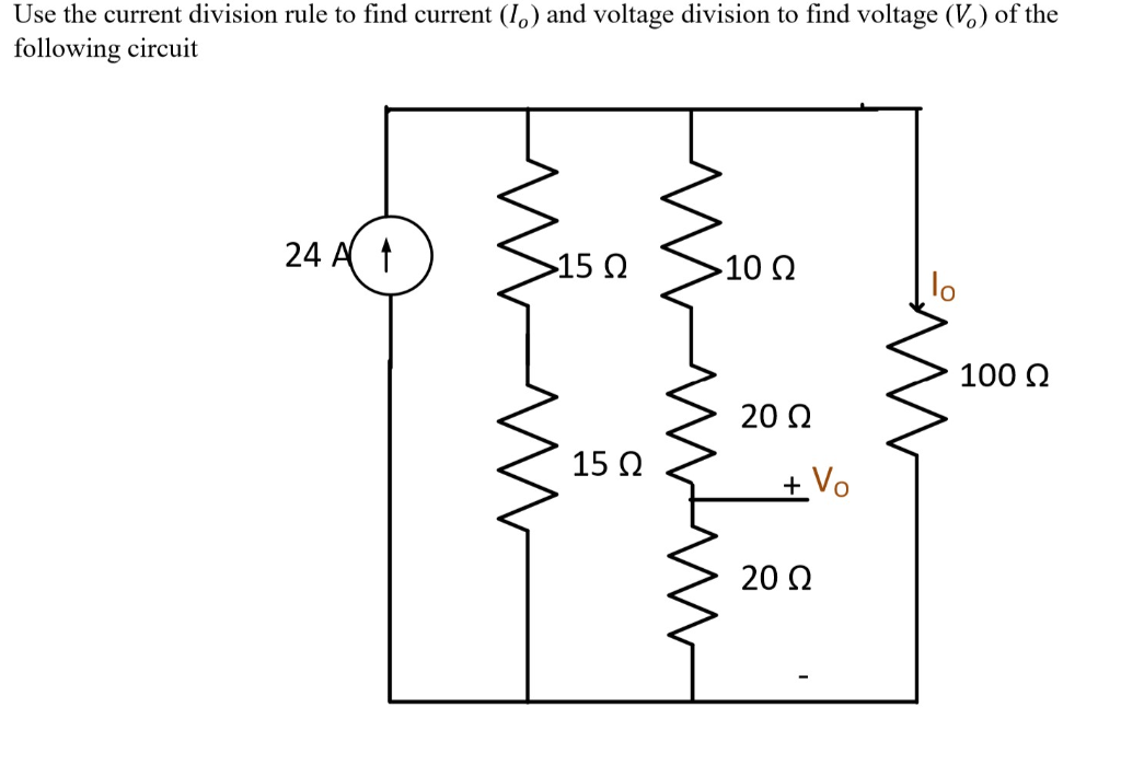 Solved: Use The Current Division Rule To Find Current (Io
