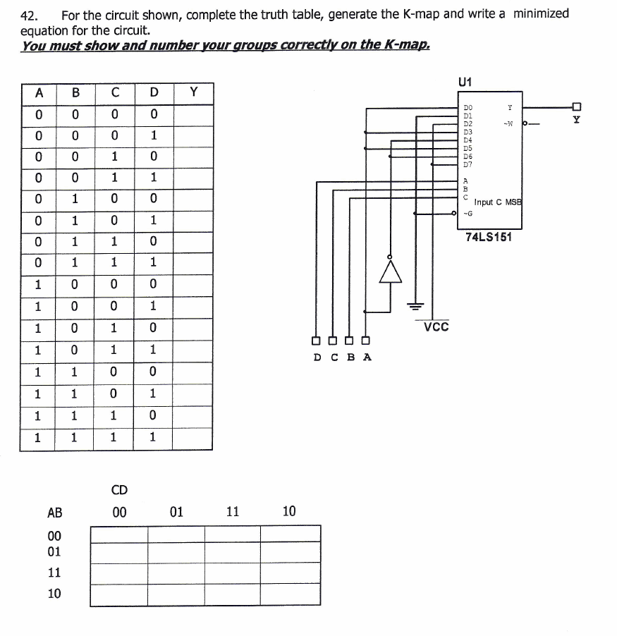 For The Circuit Shown, Complete The Truth Table