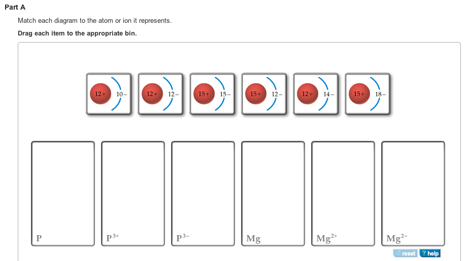Match Each Diagram To The Atom Or Ion It Represents