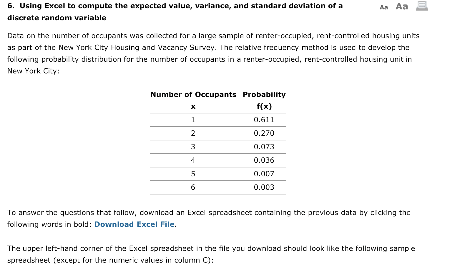Solved Aa Aa E 6 Using Excel To Compute The Expected Val